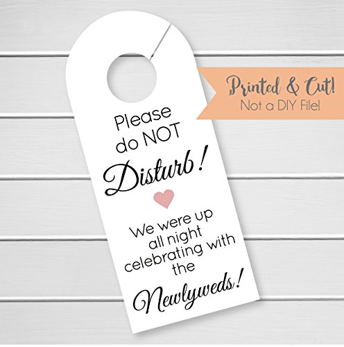 Wedding Door Hanger Sign, Hotel Welcome Bag Signs, Do Not Disturb Sign, Celebrating (DH10-BL-WT)