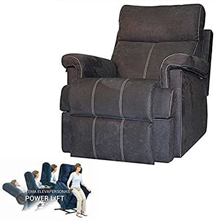 Maximum Comfort Sillon Relax With Raised People and Opening Electrica-Color Steel with Seam Beige