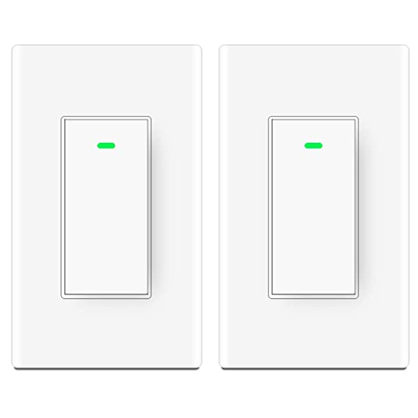 Smart Wifi Light Switch,Compatible with Alexa,Google Home, IFTTT,Wireless Remote Control, Neutral Wire Required,Physical Button, 2 Pack (Color: White)