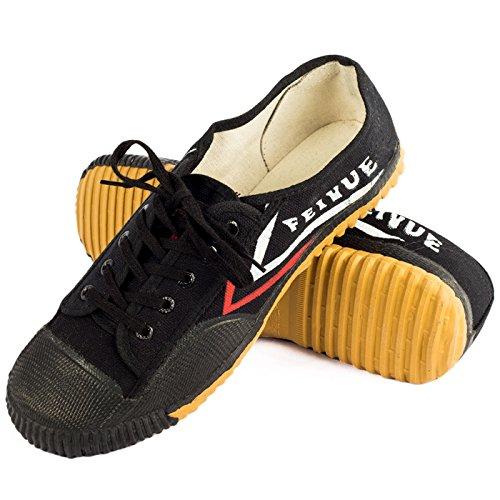 Wu Designs Fei Yue-Feiyue-Arti marziali-Wushu-Sport & Parkour-Minimal scarpe, nero, 42 UE