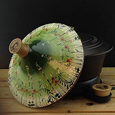 """Netherton Foundry Cast Iron Slow Cooker, hand thrown & hand painted """"Meadow Flower Green"""" ceramic tagine (2016 model) from Netherton Foundry"""