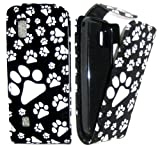 Goldstar Black Paw/ Paws, Dog Footprint Flower Leather Flip Case For Nokia Asha N300