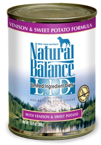 Natural Balance Canned Dog Food, Grain Free Limited Ingredient Diet Venison and Sweet Potato Recipe, 12 x 13 Ounce Pack