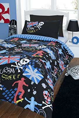 Urban Street Skater Union Jack Skulls Double Bed Duvet Cover Quilt Bedding Set