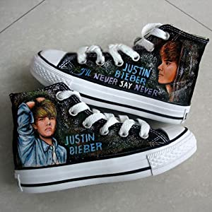 Justin Bieber's Hand Painted High-top Shoes- Four Themes Available