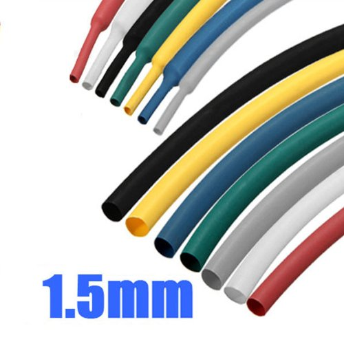 1m 1.5mm 7 Mix-Color 2:1 Polyolefin Heat Shrink Tubing Tube Sleeve Sleeving Wrap(Color Random)