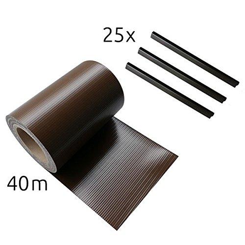 sichtschutzstreifen 19cm x 40m inkl 25 befestigungsclips zaun sichtschutz streifen braun. Black Bedroom Furniture Sets. Home Design Ideas