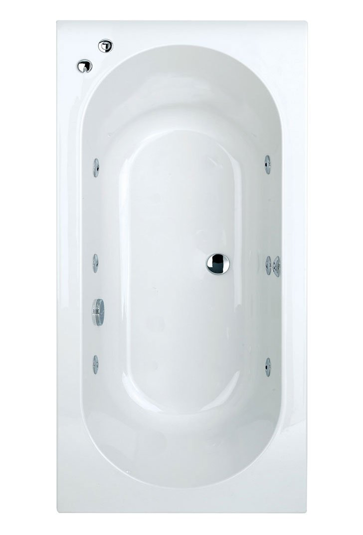 White Double Ended Bath, 6 Chrome Jet Whirlpool System, Jacuzzi Spa Bath 1800x800       Customer review and more information
