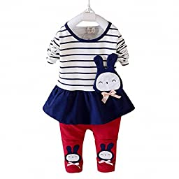 EFZQ Little Girls\' Striped Long Sleeve Top and Pants Dark Blue L/90(Advice 18-24 months)