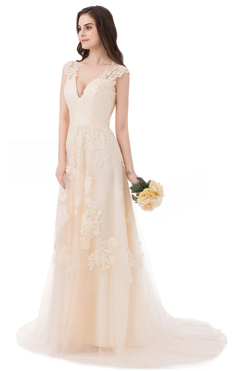 ASA Bridal Women's Vintage Cap Sleeve Lace A Line Wedding Dresses Bridal Gowns 1