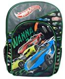 "Hot Wheels Backpack "" Wanna Race"" with Bonus Car and Built in Storage (Black/Green)"