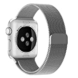 Apple Watch Band, Penom Fully Magnetic Closure Clasp Mesh Loop Milanese Stainless Steel Bracelet Strap, 42mm Silver