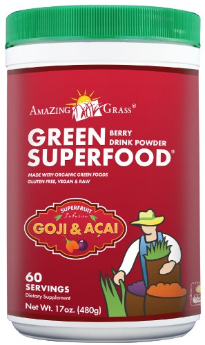 Amazing Grass Berry Flavor Drink Powder-60 Servings, Green SuperFood, 17-Ounce Container