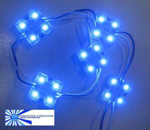 Blue Waterproof Led Module - 12Vdc 4 Smd 5050 Leds, White Case