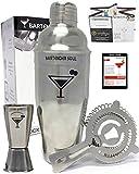 Bartender Soul® Professionellen Cocktailshaker Set - Ausgezeichnet 750ml Cocktail Shaker aus Rostfreiem Edelstahl Eingebauter und Hawthorne Sieb, Messbecher und Rezepte - Premium-Geschenk