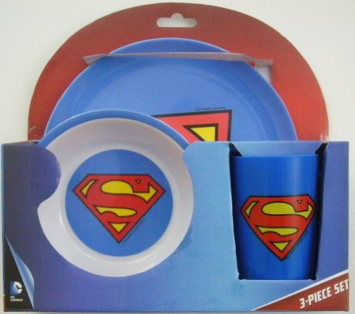 Superman Children's Blue Melamine Plate, Bowl and Cup Set - 1