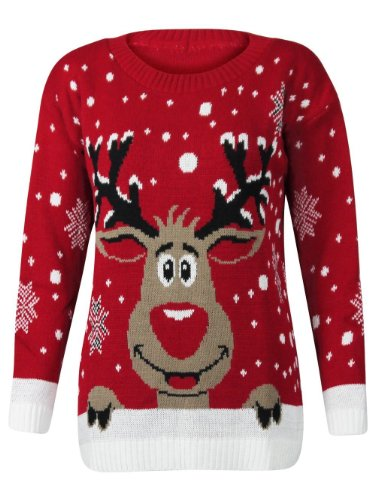 WOMENS-KNITTED-XMAS-CHRISTMAS-RUDOLF-REINDEER-JUMPER