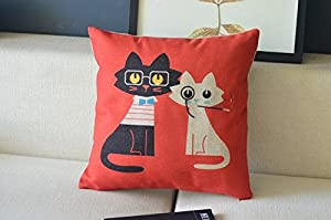 Mr & Mrs Cat Couple Meow Star Throw Pillow Case Decor Cushion Covers Square 18*18 Inch Beige Cotton Blend Linen from zeper