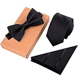 Fashion Polyster Skinny Neck ties and Bowtie Pocket Square 3pcs Set for Gifts 5