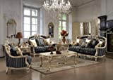 Marseille Royal Style 2 Piece Living Room Sofa and Love Seat Set with Accent Pillows