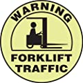 "Accuform Signs MFS805 Slip-Gard Lumi-Glow Adhesive Vinyl Round Floor Sign, Legend ""WARNING FORKLIFT TRAFFIC"" with Graphic, 8"" Diameter, Black on Yellow"