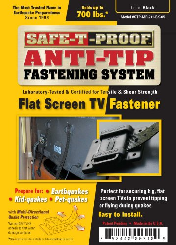Safe-T-Proof Anti-Tip Fastening System Flat Screen Tv Fastener, Black front-149488