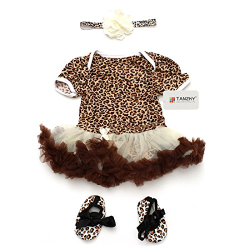 TANZKY® 3pcs Infant Baby Girls Leopard Printed Dress