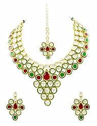 Exclusive Bridal Vilandi Kundan Necklace Set With Maang Tika