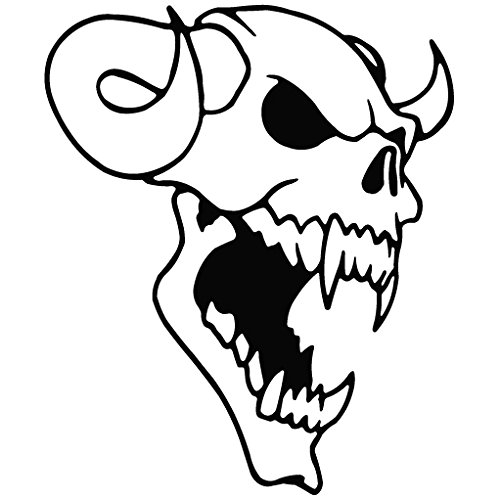 Skull Horn Demon From Ancient - Tribal Decal Vinyl Removable Decorative Sticker for Wall, Car, Ipad, Macbook, Laptop, Bike, Helmet, Small Appliances, Music Instruments, Motorcycle, Suitcase