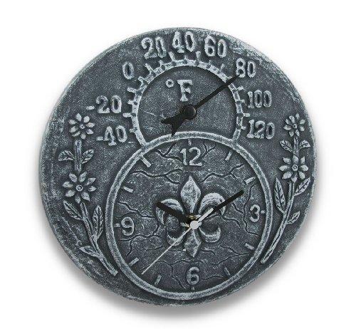 Gray Stone Finish Terracotta Fleur De Lis Clock/Thermometer