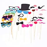 Masione 36PCS Photo Booth Props Accessories Glass Cap Moustache Lips With Stick For Wedding Birthday Party