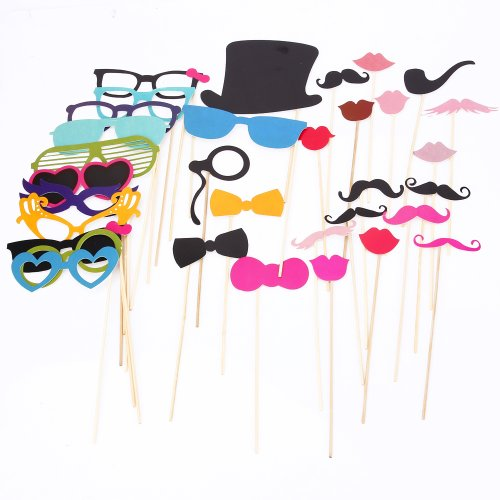 Masione 36Pcs On A Stick Photo Booth Props Wedding Birthday Party Moustache&Lips front-561232
