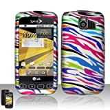 Rubberized Silver Blue Green Purple Orange Colorful Zebra Snap on Design Case Hard Case Skin Cover Faceplate for Lg Optimus S Ls670