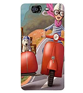 ANIMATED BOY AND A PET TRAVELLING ON A VACATION 3D Hard Polycarbonate Designer Back Case Cover for Micromax Canvas Knight A350