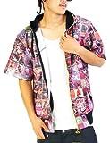 (シーエルエイチ)CLH パーカー メンズ 半袖 ジャージ レコード柄 ヒップホップ B系 ストリート系 ファッション(L,レッド)