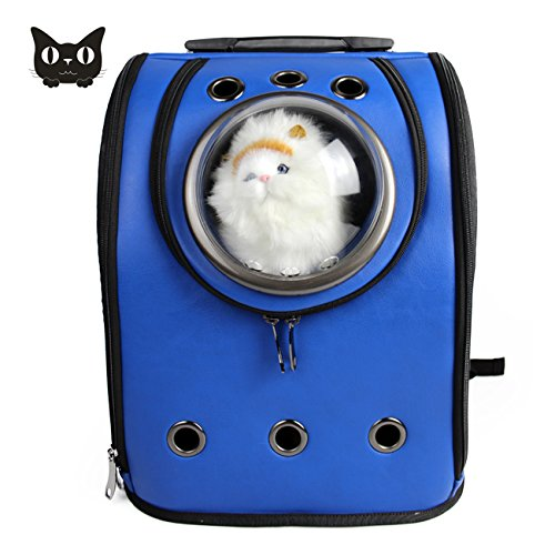 Texsens Innovative Traveler Bubble Backpack Pet Carriers Airline Travel Approved Carrier Switchable Mesh Panel for Cats and Dogs (One Size, Blue)