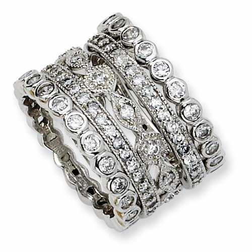 Gold-plated Sterling Silver Cubic Zirconia Eternity Five Ring Set (Size 8)
