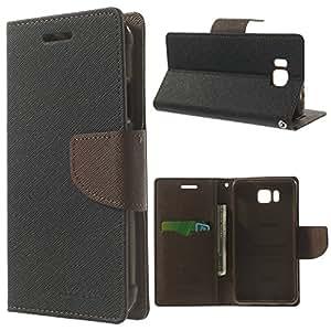 Cubezap Mercury Diary Card Wallet Flip Case Back Cover for Samsung Galaxy Alpha Alfa - Brown Black