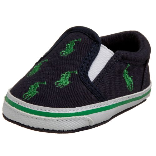 Ralph Lauren Layette Bal Harbour Crib Shoe (Infant/Toddler),Navy/Green,4 M US Infant