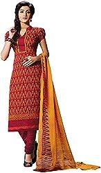 K.K BROTHERS Women's Crepe Dress Material (Red)
