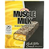 Get CytoSport Muscle Milk 73 g Vanilla Toffee Crunch High Protein Bars - Box of 8 Price-image