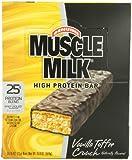 CytoSport Muscle Milk Bar, Vanilla Toffee Crunch,  73g Bars, Eight-Count Box