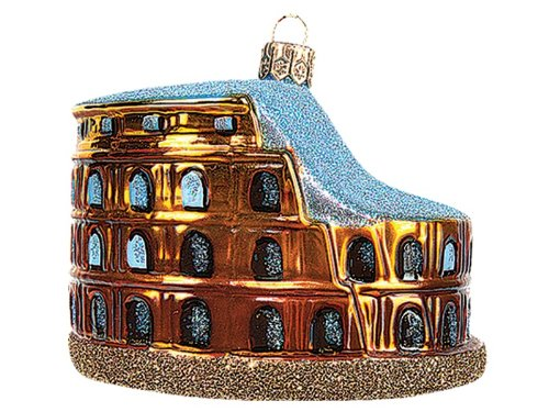 Colosseum of Rome Polish Mouth Blown Glass Christmas Ornament