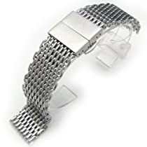 "20mm Ploprof 316 Reform Stainless Steel ""SHARK"" Mesh Watch Band Deployant Strap-AB"