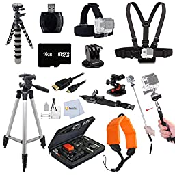 Gopro Everything You Need Package for GoPro Hero4, Hero4 Session, Hero+, Hero, Hero3+, Hero3, Hero2 Kit Includes: Outdoors Kit with Arm Mount & Flat Surface Mount + Head Strap + Tripod + 16GB Memory & more All in One Bundle