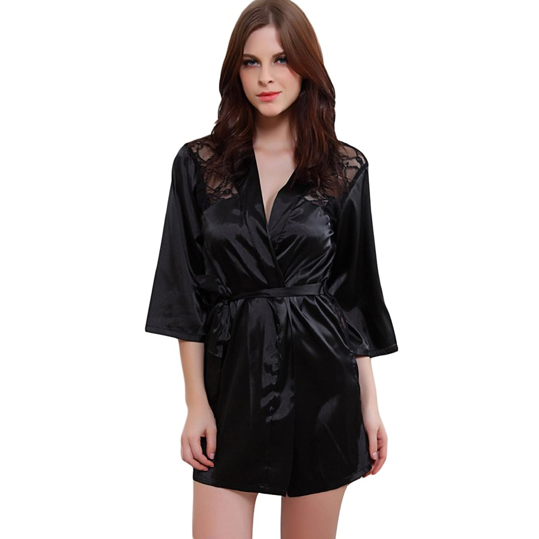 Deercon Frauen schlie?en Stain Spitze Kimono-Robe-Brautw?sche Nachtw?sche (3 Farben) günstig kaufen