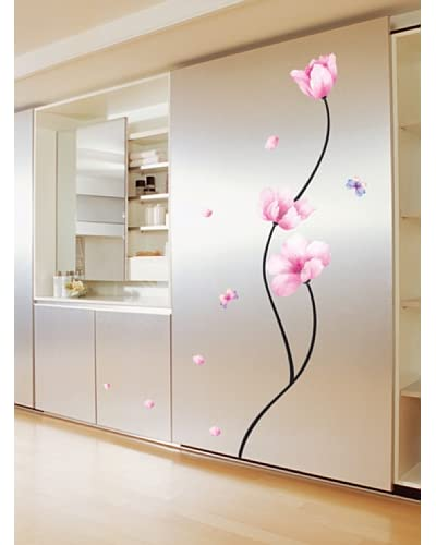 Ambience Live Vinilo Decorativo Pink flowers and butterflies