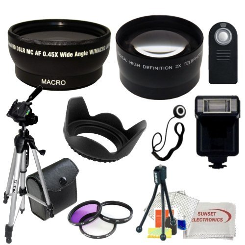 Ultimate Accessory Bundle Kit For Canon Rebel T1i, T2, T3i, T4i, T5i, SL1, 60D, 70D, 7D Digital SLR Cameras (Which Have the Following Canon Lenses – 18-55mm, 55-250mm, 75-300mm, 50mm 1.4) Includes – 0.43x Wide Angle Lens, 2.2x Telephoto Lens, 3 Piece Professional Filter Kit (UV,CPL,FLD), Flash, Wireless Remote, 50″ Tripod and more