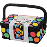 SINGER Polka Dot Small Sewing Basket with Sewing Kit Accessories