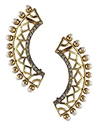 The Jewelbox Gold Plated CZ Pearl Filigree Ear Cuff Earring Pair For Women